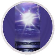 Purple Aura II Round Beach Towel