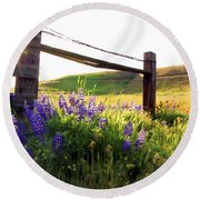 Purple Wildflowers Round Beach Towel