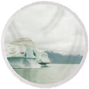 Rafters Navigating Icebergs On Alsek Round Beach Towel