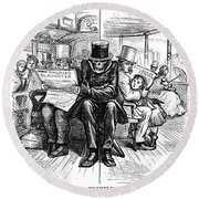 Railroad Accidents, 1871 Round Beach Towel