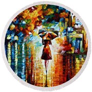 Rain Princess - Palette Knife Landscape Oil Painting On Canvas By Leonid Afremov Round Beach Towel