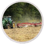 Raking Hay Round Beach Towel