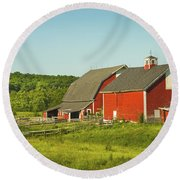 Red Barn And Fence On Farm In Maine Round Beach Towel