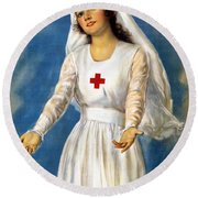 Red Cross Poster, 1918 Round Beach Towel
