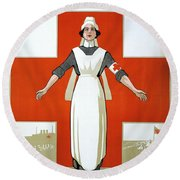 Red Cross Poster, C1917 Round Beach Towel