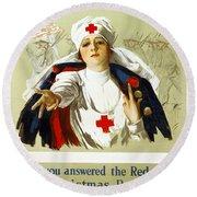 Red Cross Poster, C1918 Round Beach Towel