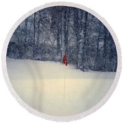 Red Flag On The Snow Covered Golf Course Round Beach Towel