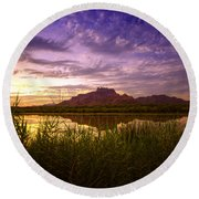Red Mountain Reflections  Round Beach Towel