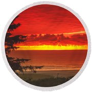 Red Pacific Round Beach Towel