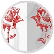 2 Red Roses Poster Round Beach Towel