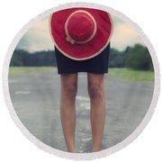 Red Sun Hat Round Beach Towel by Joana Kruse