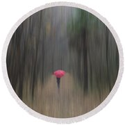 Red Umbrella In The Forest Round Beach Towel
