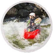 Red Whitewater Kayak Round Beach Towel