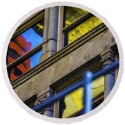 Red Yellow Blue Abstract No Watermark Round Beach Towel