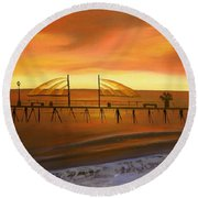 Redondo Beach Pier At Sunset Round Beach Towel