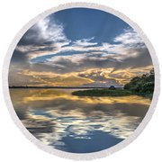 Silver And Blue Round Beach Towel