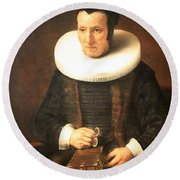 Rembrandt's An Old Lady With A Book Round Beach Towel