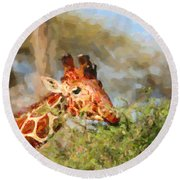 Reticulated Giraffe Kenya Round Beach Towel