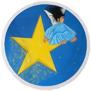 Ride A Shooting Star Round Beach Towel