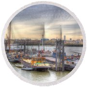 River Thames Boat Community Round Beach Towel