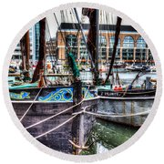 River Thames Sailing Barges. Round Beach Towel