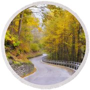 Road With Curves Round Beach Towel