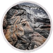 Rock Formations At Georgian Bay Round Beach Towel