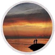 Rock Harbor Sunset Round Beach Towel