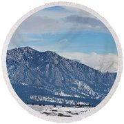 Rocky Mountains Flatirons And Longs Peak Panorama Boulder Round Beach Towel