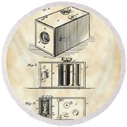 Roll Film Camera Patent 1888 - Vintage Round Beach Towel