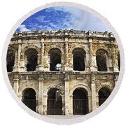Roman Arena In Nimes France Round Beach Towel