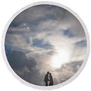 Romantic Couple On A Mountain Peak Round Beach Towel