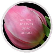 Romantic Pink Tulip Round Beach Towel