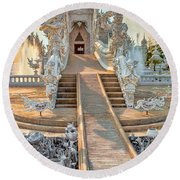 Rong Khun Temple Round Beach Towel by Adrian Evans