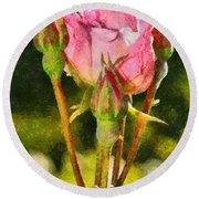 Rose Flower Round Beach Towel