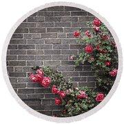 Roses On Brick Wall Round Beach Towel