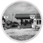 Route 66 Gas Station Round Beach Towel