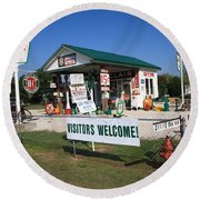 Route 66 Sinclair Station Round Beach Towel