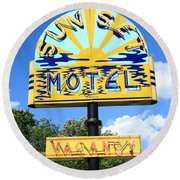 Route 66 - Sunset Motel Round Beach Towel