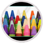 Rows Of Crayons Round Beach Towel