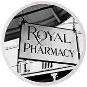Royal Pharmacy - Bw Round Beach Towel