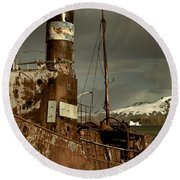 Rusted Whaling Boats Round Beach Towel by Amanda Stadther
