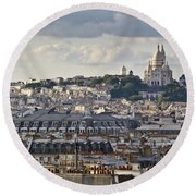 Sacre Coeur Over Rooftops Round Beach Towel