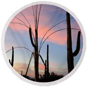 Saguaro Silhouettes Round Beach Towel