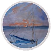 Sailboat Reflections II Round Beach Towel