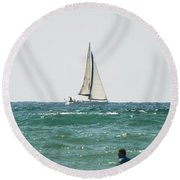 Sailing In California Round Beach Towel