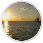 Sailing Into The Sunset - Key West Round Beach Towel
