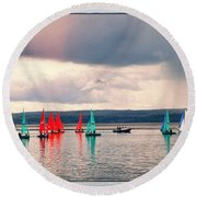 Sailing On Marine Lake A Reflection Round Beach Towel