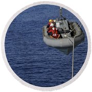 Sailors Lower A Rigid-hull Inflatable Round Beach Towel