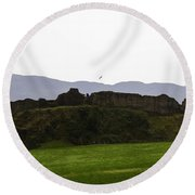 Saltire And The Ruins Of The Urquhart Castle In Scotland Round Beach Towel